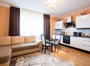 Spacious studio apartment with a balcony, a dressing room an