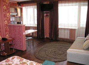 The apartment: Bedroom: a large mirror double bed, sofa, cof